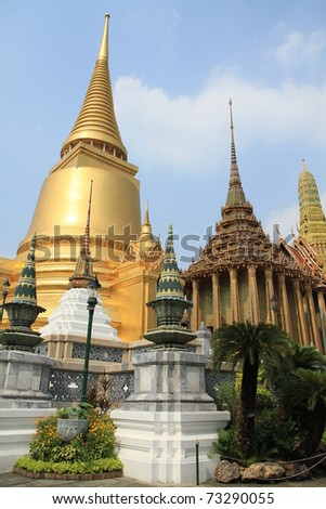 Grand Palace, the major tourism attraction in Bangkok, Thailand - stock photo