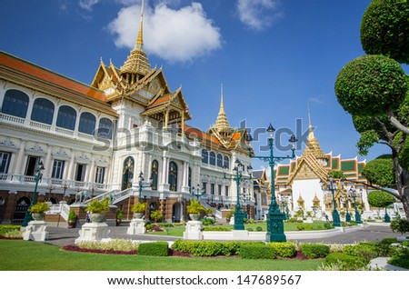 Grand palace, Wat pra kaew with blue sky,  bangkok, Thailand - stock photo