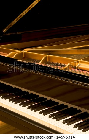 Grand Piano - With Cover Open - stock photo