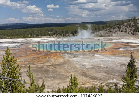 Grand Prismatic Hot Spring - stock photo