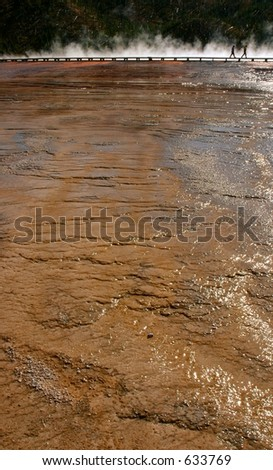 Grand Prismatic Hot Spring Mud Flats with Boardwalk - stock photo