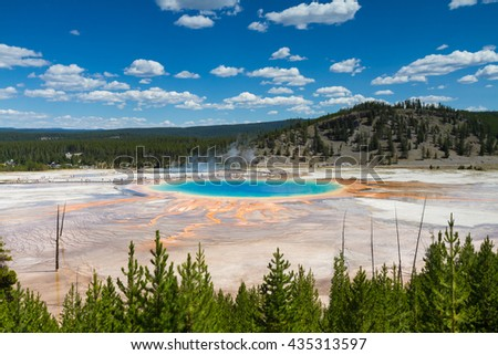 Grand Prismatic Spring at Midway Geyser Basin, Yellowstone National Park, Wyoming, USA - stock photo