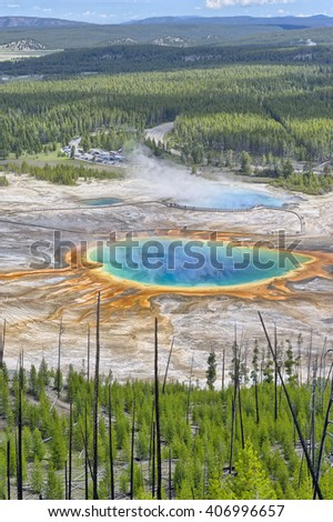 Grand Prismatic Spring from Picture Hill, Yellowstone National Park, Wyoming - stock photo