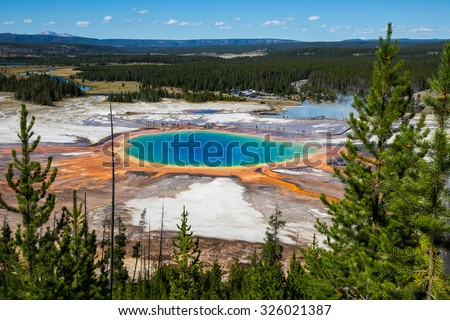 Grand Prismatic Spring in Yellowstone National Park, USA - stock photo