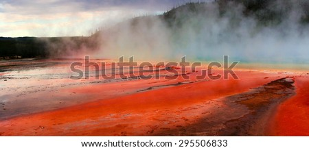 Grand Prismatic Spring of Yellowstone National Park - stock photo
