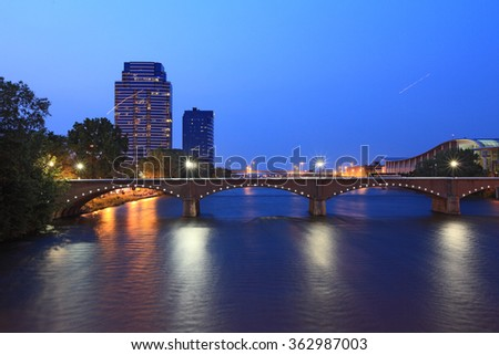 Grand Rapids Bridge at dusk in Michigan summer time - stock photo