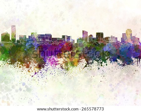 Grand Rapids skyline in watercolor background - stock photo