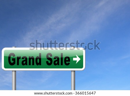 Grand sale, sales and reduced prices and sellout, billboard road sign.  - stock photo
