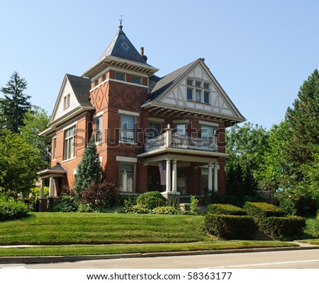 Grand Stick Style House - stock photo