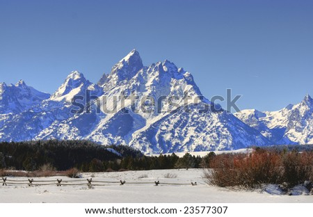 Grand Teton just outside of Jackson Hole Wyoming - stock photo