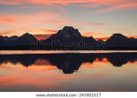 Grand Teton mountain range, Jackson Lake, Grand Teton National Park, USA - stock photo