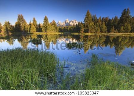 Grand Teton National Park at Snake River in Wyoming - stock photo