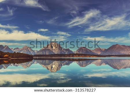 Grand Teton National Park, Wyoming, USA.Instagram filter. - stock photo