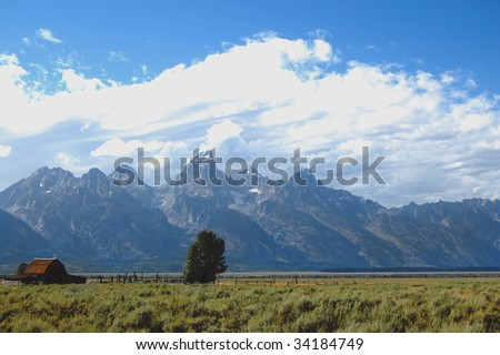 Grand Tetons Mormon Row farmhouse foreground - stock photo