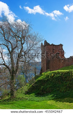 Grand Tower of Urquhart Castle at Loch Ness in Scotland. Loch Ness is a city in the Highlands in Scotland in the United Kingdom. - stock photo