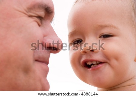 grandfather and grandchild - stock photo
