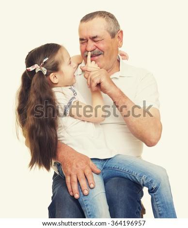 Grandfather and grandchildren portrait  yellow toned - stock photo