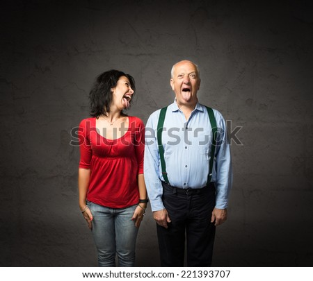 grandfather and grandson playful moment - stock photo