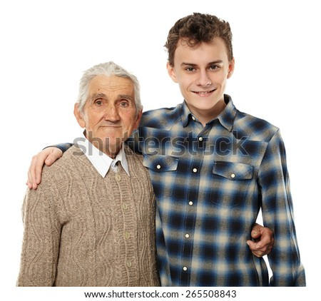 Grandfather and grandson posing in closeup portrait, isolated on white background - stock photo