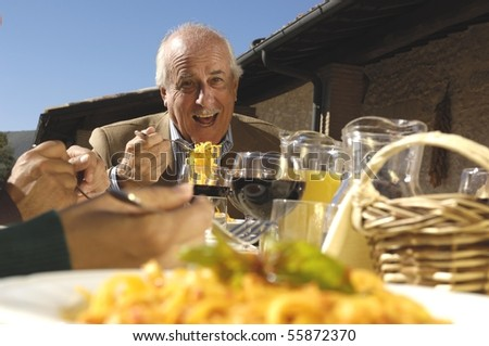 grandfather and pasta - stock photo