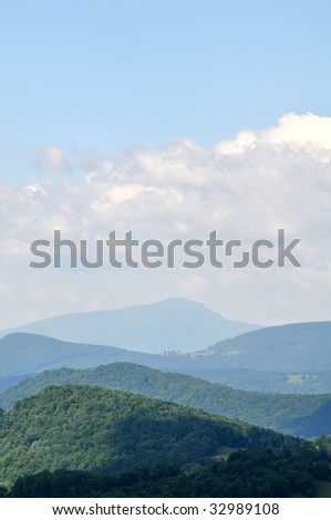 Grandfather Mountain, North Carolina in Summer Vertical With Copy Space - stock photo