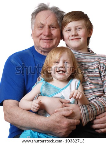 grandfather with boy and girl - stock photo