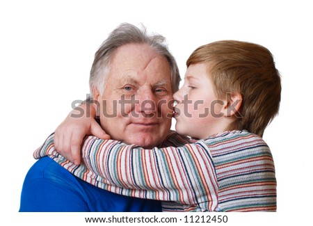 grandfather with boy isolated on white - stock photo