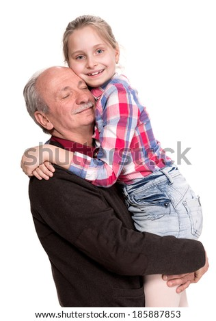 Grandfather with granddaughter on a white background - stock photo