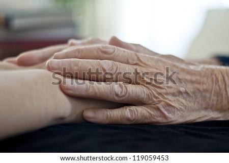 grandma and granddaughter - stock photo