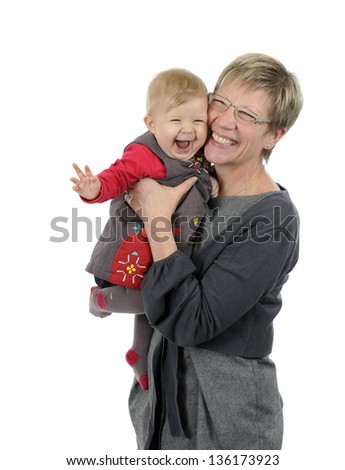 grandmother and granddaughter having fun, isolated on white background - stock photo