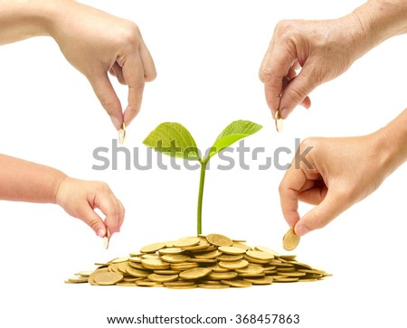 Grandmother, father, mother, and baby in the family do green saving money isolated / Family go green saving concept - stock photo