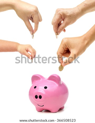 Grandmother, father, mother, and baby in the family do saving money in pink piggy banks / Family saving money concept - stock photo
