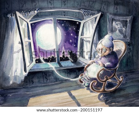 Grandmother knitting a sweater with a lunar light.Picture created with watercolors. - stock photo