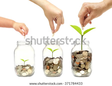 Grandmother, mother, and baby in the family do green saving money isolated / Family go green saving concept - stock photo