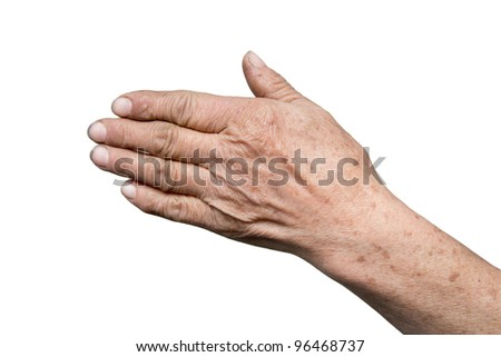 grandmother's hand on a white background - stock photo
