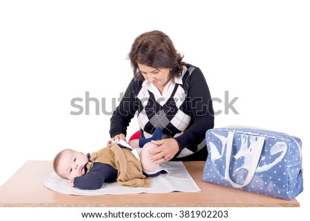 grandmother with little grandson isolated in white - stock photo