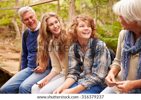 Grandparents and teens sit on bridge in a forest, side view - stock photo