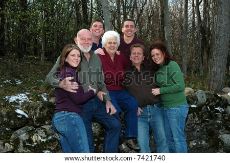 grandparents with grandchildren - stock photo
