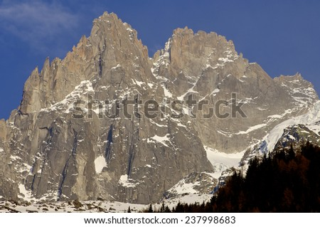 Grands Charmoz, 3445 m, Aiguilles du Chamonix, Mont Blanc Massif, Alps, Chamonix, France - stock photo