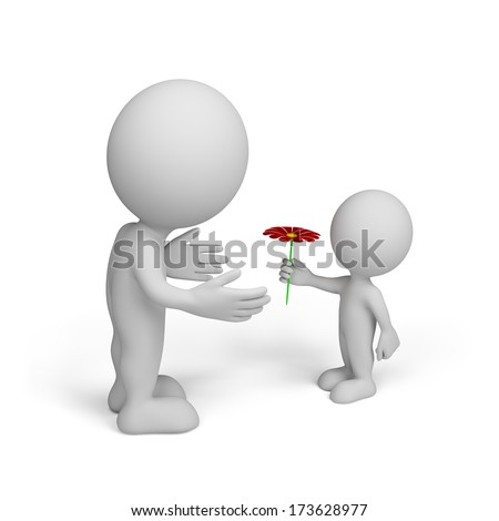 Grandson grandfather gave flower. 3d image. White background. - stock photo