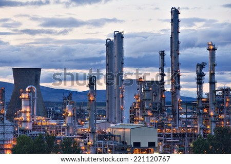 Grangemouth oil refinery complex located on the Firth of Forth in Grangemouth, Scotland. One of the largest of kind in Europe - stock photo