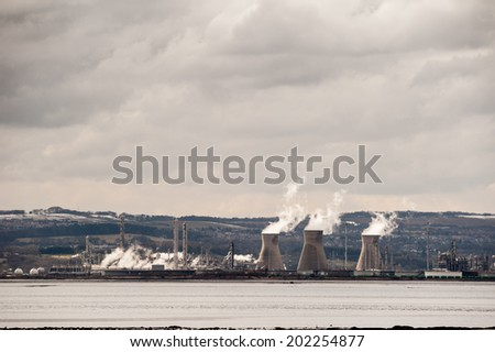 Grangemouth refinery on the River Forth, Scotland in winter. - stock photo