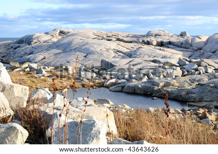 Granite barrens at Peggy's Cove Nova Scotia - stock photo