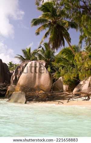 Granite boulders on famous Source d Argent beach, La Digue island, Seychelles - stock photo