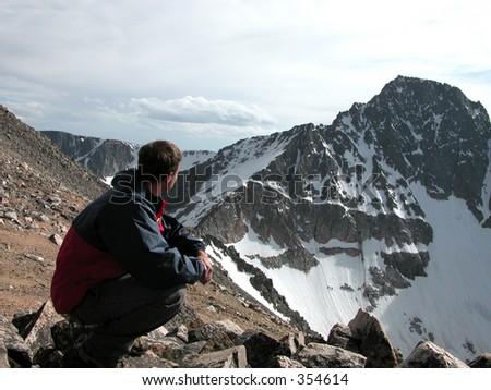 Granite Peak, Montana. The Challenge Ahead - stock photo