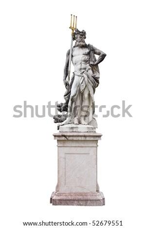 Granite Poseidon sculpture isolated on white background - stock photo