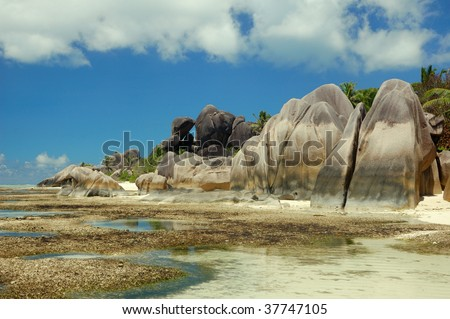 Granite rock formation in Seychelles - stock photo