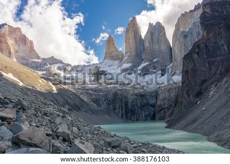 Granite spires of Torres del Paine in Chile - stock photo