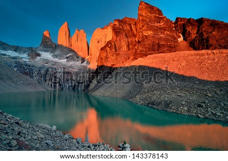 Granite towers of Torres del Paine, Chile. - stock photo