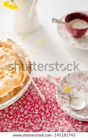 Granny Smith Apple Pie with Cream - stock photo